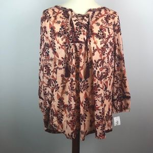 NEW Style & Co Floral Blouse Brown Tan 1X